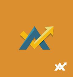 arrow up sign business logo vector image