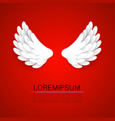 Artificial white paper wings on red background vector