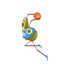 avocado basketball player funny exotic fruit vector image