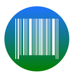 bar code sign white icon in bluish circle vector image