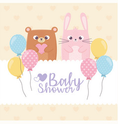 bashower teddy bear and rabbit with balloons vector image