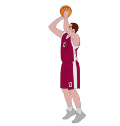 Basketball player shooting free throw vector