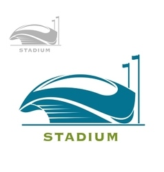 Blue sport stadium building with open roof vector image