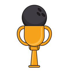 Bowling trophy sport golden image vector