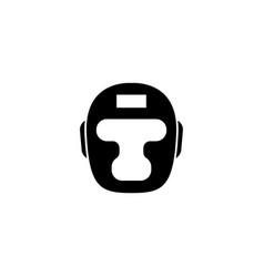 Boxing headgear taekwondo helmet flat icon vector