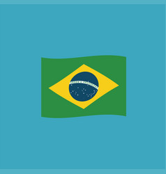 brazil flag icon in flat design vector image