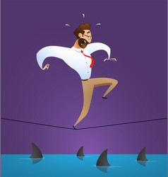 businessman crawling over a sea of sharks vector image