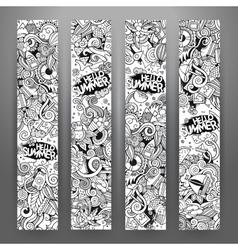 Cartoon doodles summer banners vector image