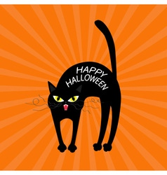 Cat arch back Happy Halloween greeting card vector