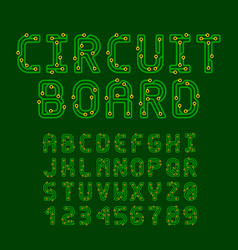 Circuit board style latin font letters vector