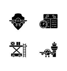 Civil aviation safety flights black glyph icons vector