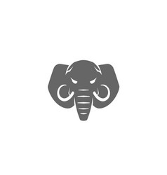 creative angry elephant head mammoth logo vector image