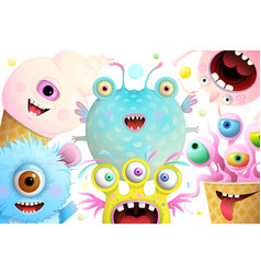 Cute monsters characters background for kids vector
