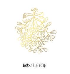decorative golden mistletoe vector image