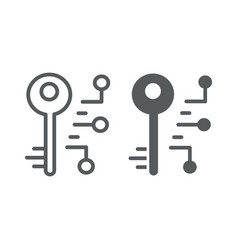 Digital key line and glyph icon security safety vector