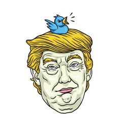 Donald trump with his pet bird cartoon caricature vector