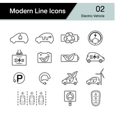 Electric car icon set 2 hybrid vehicle symbol vector