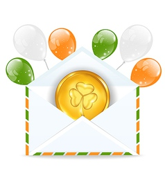 Envelope with golden coin and colorful balloons vector image