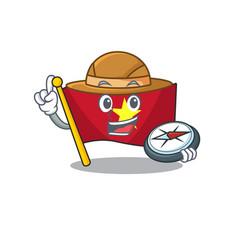 Explorer flag vietnam fluttered on mascot pole vector