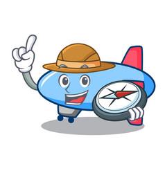 Explorer zeppelin mascot cartoon style vector