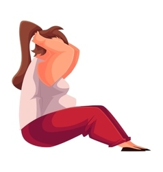 Fat woman doing sit ups cartoon vector