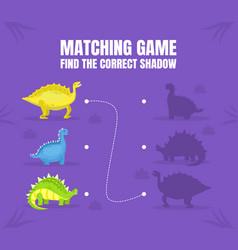 find correct shadow dinosaur education vector image