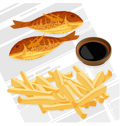 fish and chips served with sauce vector image