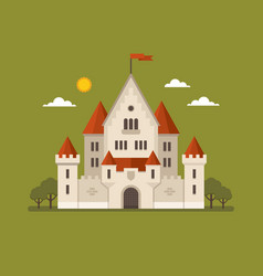 Flat castle on green background vector