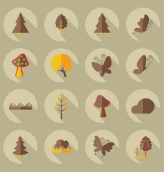 Flat concept set modern design with shadow forest vector