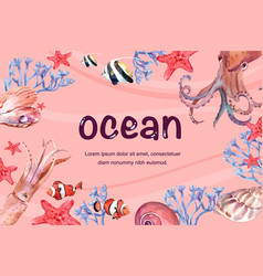 Frame design with various animal under sea vector