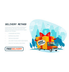 free delivery template delivery truck with gift vector image