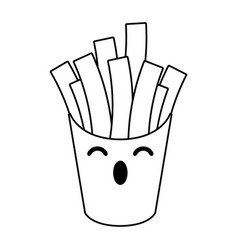 french fries box kawaii cartoon in black and white vector image