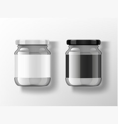 Glass jar with black and white labels and lids vector