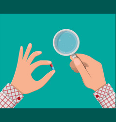 glass of water and pills in hand taking pills vector image