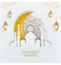 golden ornate with crescent and lantern vector image