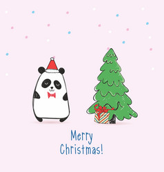greeting card with panda with gift vector image