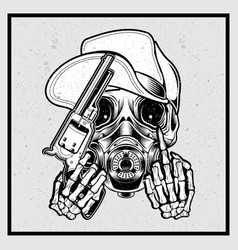grunge style skull wearing a hat holding a gun vector image