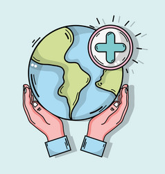 Hands with global planet and cross clinical symbol vector