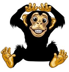 Happy cartoon chimp vector