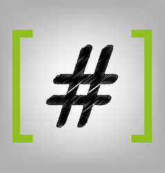 hashtag sign black scribble vector image