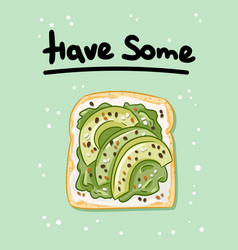 Have some healthy sandwich postcard toast bread vector