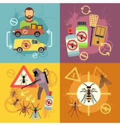 Home pest control service flat concepts set vector