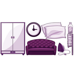Household items in purple vector