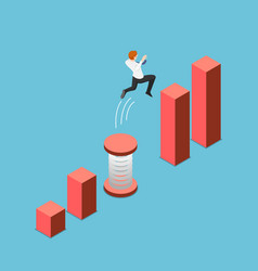 isometric businessman use a spring to cross gap vector image