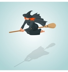 Isometric Pin-up witch flying on her broom vector
