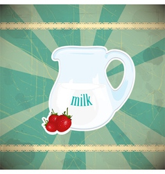 jug of milk and strawberries vector image