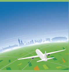 Krakow skyline flight destination vector