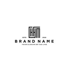 Letter hhm square logo design vector