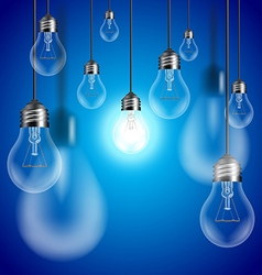 Light bulbs on blue background vector image