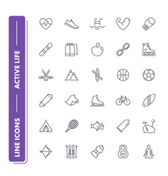 line icons set active life vector image